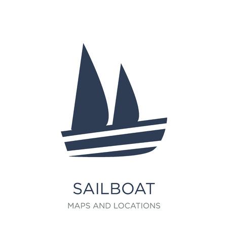 Icône d'icône de voilier. Icône d'icône de voilier de vecteur plat sur un fond blanc de la collection de cartes et emplacements, illustration vectorielle peut être utilisé pour le web et mobile, eps10