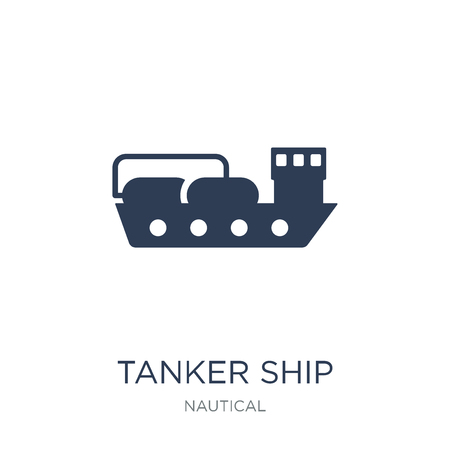 Tanker Ship icon. Trendy flat vector Tanker Ship icon on white background from Nautical collection, vector illustration can be use for web and mobile, eps10 Vektoros illusztráció