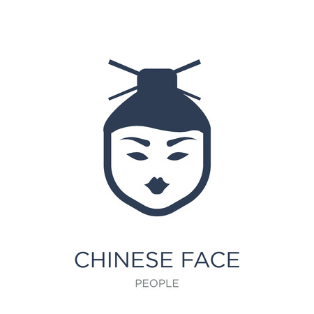 Chinese face icon. Trendy flat vector Chinese face icon on white background from People collection, vector illustration can be use for web and mobile, eps10