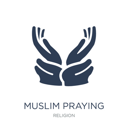 Muslim Praying Hands icon. Trendy flat vector Muslim Praying Hands icon on white background from Religion collection, vector illustration can be use for web and mobile, eps10