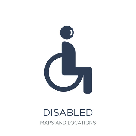 Disabled Sign icon. Trendy flat vector Disabled Sign icon on white background from Maps and Locations collection, vector illustration can be use for web and mobile, eps10