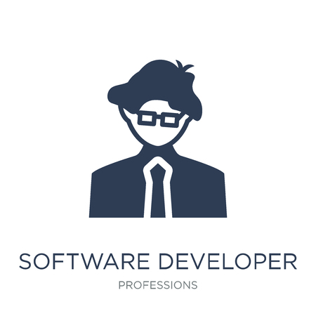 Software Developer icon. Trendy flat vector Software Developer icon on white background from Professions collection, vector illustration can be use for web and mobile, eps10