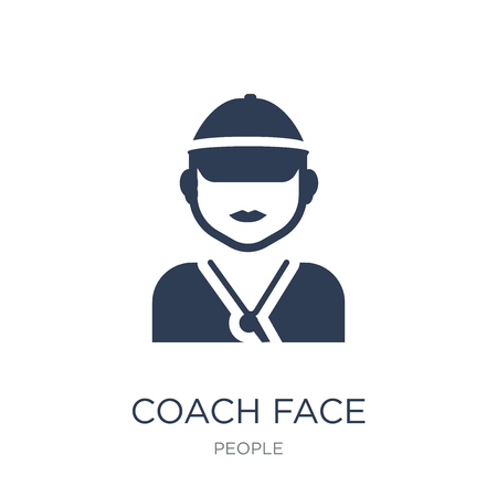 Coach face icon. Trendy flat vector Coach face icon on white background from People collection, vector illustration can be use for web and mobile, eps10 Çizim