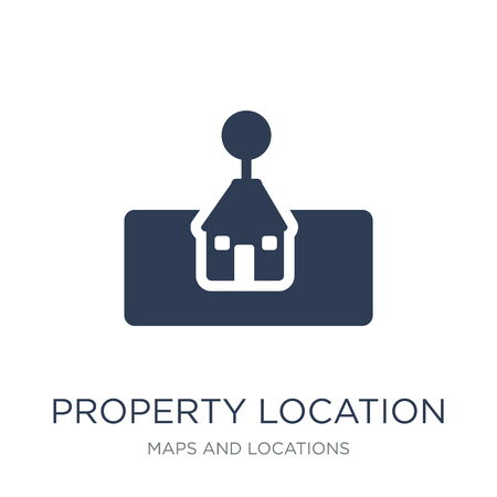 icono de ubicación de la propiedad. Icono de ubicación de propiedad de moda vector plano sobre fondo blanco de la colección Mapas y ubicaciones, Ilustración de vectores se puede utilizar para web y móvil, eps10