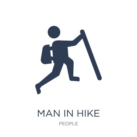 Man in Hike icon. Trendy flat vector Man in Hike icon on white background from People collection, vector illustration can be use for web and mobile, eps10 Stock Vector - 112235723