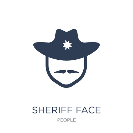 Sheriff face icon. Trendy flat vector Sheriff face icon on white background from People collection, vector illustration can be use for web and mobile, eps10 Ilustração