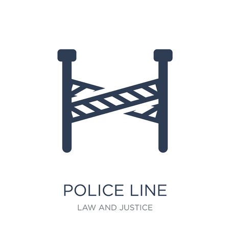 Police line icon. Trendy flat vector Police line icon on white background from law and justice collection, vector illustration can be use for web and mobile, eps10 Standard-Bild - 112235728