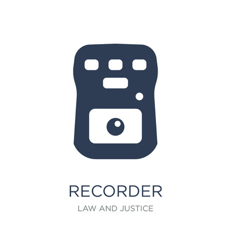 Recorder icon. Trendy flat vector Recorder icon on white background from law and justice collection, vector illustration can be use for web and mobile, eps10  イラスト・ベクター素材