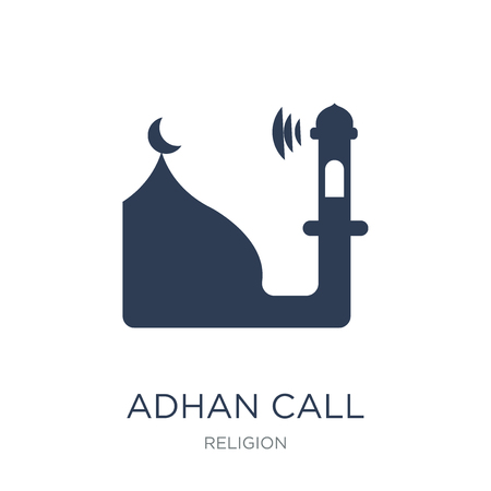 Adhan Call icon. Trendy flat vector Adhan Call icon on white background from Religion collection, vector illustration can be use for web and mobile, eps10