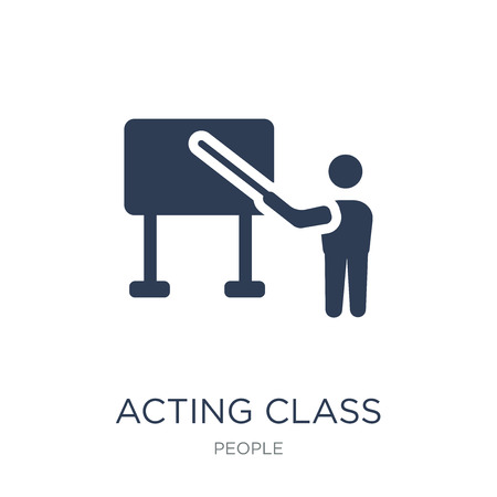 Acting class icon. Trendy flat vector Acting class icon on white background from People collection, vector illustration can be use for web and mobile, eps10