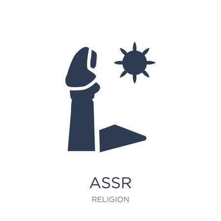 Ikona Assr. Modny płaski wektor ikona Assr na białym tle z kolekcji Religion, ilustracji wektorowych może być używany dla sieci web i mobile, eps10