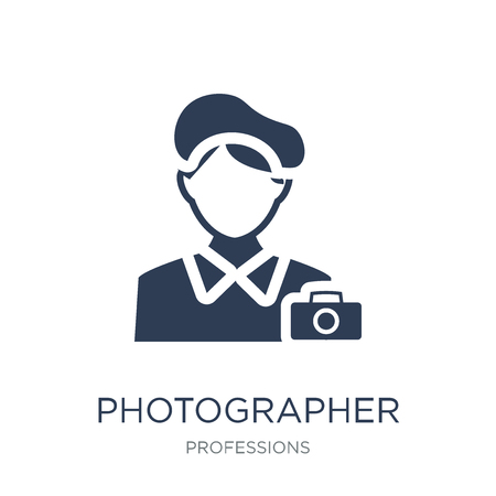 Photographer icon. Trendy flat vector Photographer icon on white background from Professions collection, vector illustration can be use for web and mobile, eps10