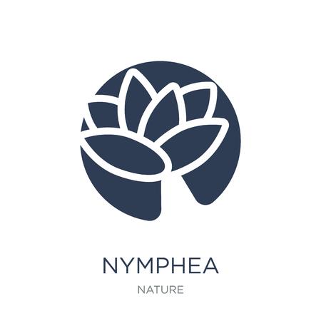 Icono de ninfea. Icono de Nymphea de moda vector plano sobre fondo blanco de colección de la naturaleza, Ilustración de vectores se puede utilizar para web y móvil, eps10