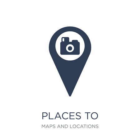 Places to photograph icon. Trendy flat vector Places to photograph icon on white background from Maps and Locations collection, vector illustration can be use for web and mobile, eps10  イラスト・ベクター素材