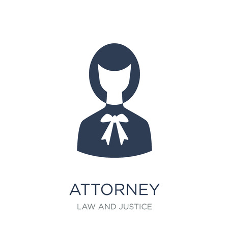 attorney icon. Trendy flat vector attorney icon on white background from law and justice collection, vector illustration can be use for web and mobile, eps10 Illustration