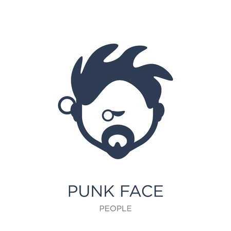 Punk face icon. Trendy flat vector Punk face icon on white background from People collection, vector illustration can be use for web and mobile, eps10