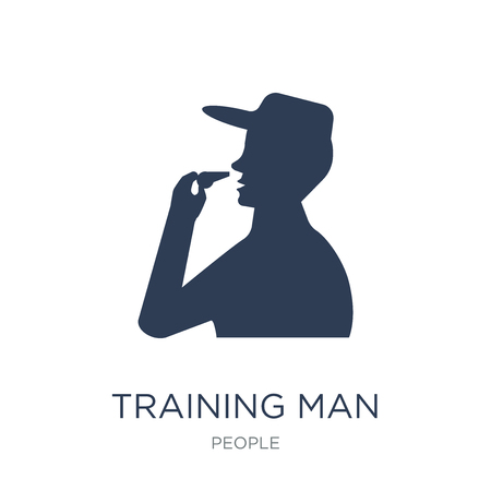Training man icon. Trendy flat vector Training man icon on white background from People collection, vector illustration can be use for web and mobile, eps10 Stock Vector - 112235808