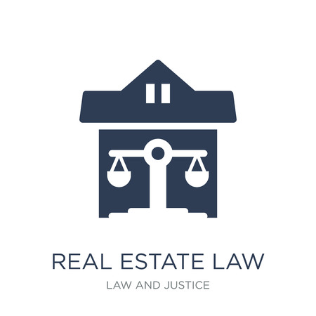 real estate law icon. Trendy flat vector real estate law icon on white background from law and justice collection, vector illustration can be use for web and mobile, eps10