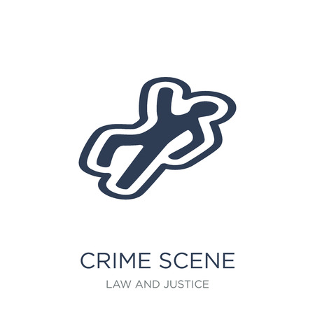 Crime scene icon. Trendy flat vector Crime scene icon on white background from law and justice collection, vector illustration can be use for web and mobile, eps10 Stock Vector - 112235812