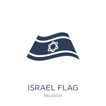 Israel Flag icon. Trendy flat vector Israel Flag icon on white background from Religion collection, vector illustration can be use for web and mobile, eps10
