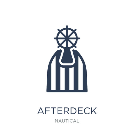 afterdeck icon. Trendy flat vector afterdeck icon on white background from Nautical collection, vector illustration can be use for web and mobile, eps10 Çizim