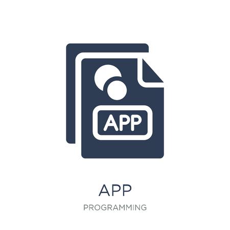 Icona dell'app. Icona di App piatto vettoriale alla moda su priorità bassa bianca da collezione di programmazione, illustrazione vettoriale può essere utilizzato per il web e mobile, eps10 Vettoriali