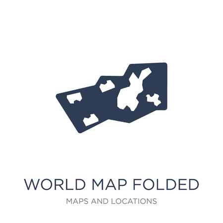 World Map Folded icon. Trendy flat vector World Map Folded icon on white background from Maps and Locations collection, vector illustration can be use for web and mobile, eps10