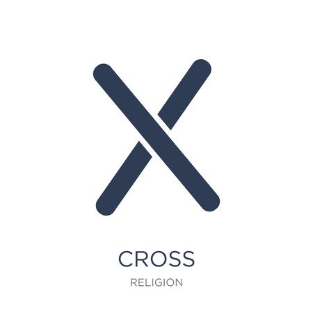 Icona a forma di croce. Icona a forma di croce piatto vettoriale su sfondo bianco da collezione Religione, illustrazione vettoriale può essere utilizzato per il web e mobile Vettoriali
