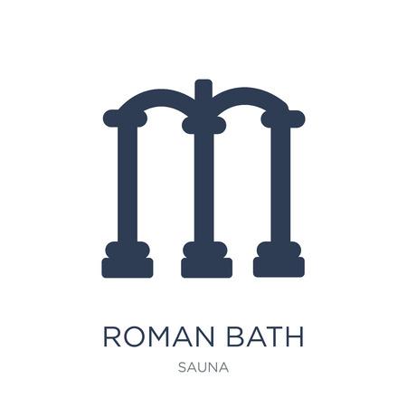 Römisches Bad-Symbol. Trendiges flaches Vektorrömisches Badsymbol auf weißem Hintergrund aus der Saunasammlung, Vektorillustration kann für Web und Mobile verwendet werden, eps10