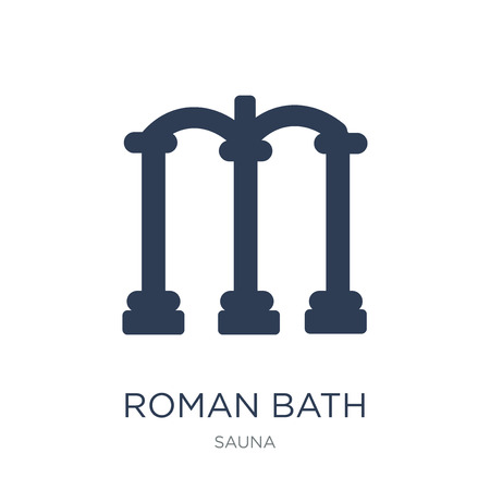Roman bath icon. Trendy flat vector Roman bath icon on white background from sauna collection, vector illustration can be use for web and mobile, eps10