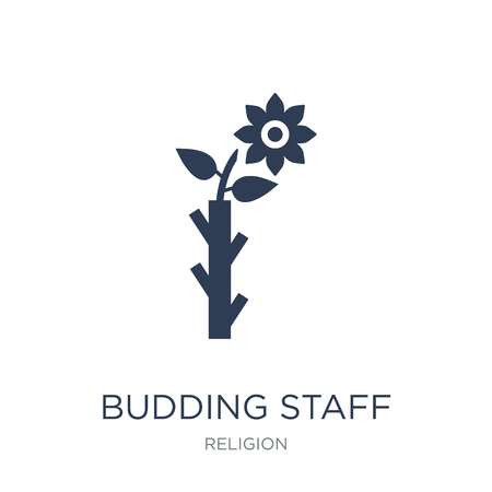 Budding Staff icon. Trendy flat vector Budding Staff icon on white background from Religion collection, vector illustration can be use for web and mobile, eps10