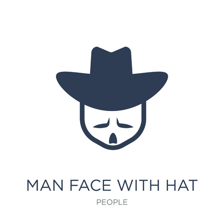 Man face with hat icon. Trendy flat vector Man face with hat icon on white background from People collection, vector illustration can be use for web and mobile, eps10