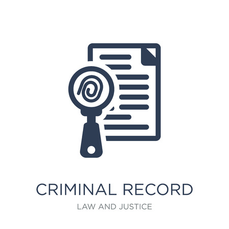 Criminal record icon. Trendy flat vector Criminal record icon on white background from law and justice collection, vector illustration can be use for web and mobile, eps10