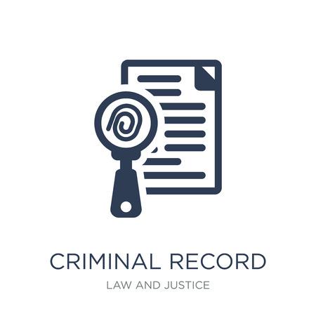 Ikona rejestru karnego. Modny płaski wektor karny ikona na białym tle z kolekcji prawa i sprawiedliwości, ilustracji wektorowych można użyć dla sieci web i mobile, eps10
