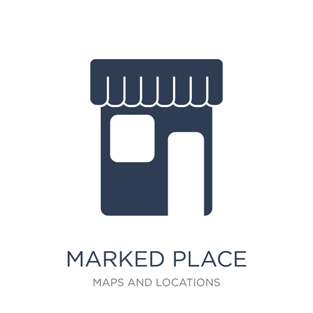 Marked Place icon. Trendy flat vector Marked Place icon on white background from Maps and Locations collection, vector illustration can be use for web and mobile, eps10 Ilustração