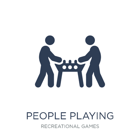 People playing Table football icon icon. Trendy flat vector People playing Table football icon on white background from Recreational games collection, vector illustration can be use for web and mobile, eps10