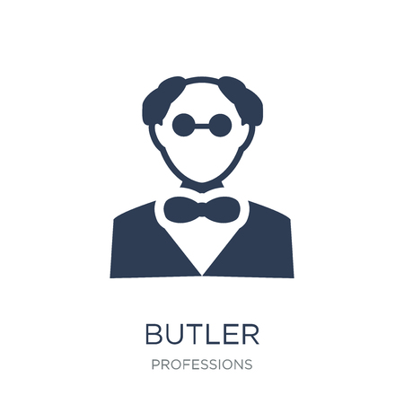 Butler icon. Trendy flat vector Butler icon on white background from Professions collection, vector illustration can be use for web and mobile, eps10