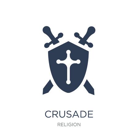 Icona della crociata. Icona di crociata piatto vettoriale su priorità bassa bianca da collezione religione, illustrazione vettoriale può essere utilizzato per il web e mobile, eps10