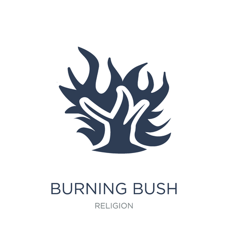 Burning Bush icon. Trendy flat vector Burning Bush icon on white background from Religion collection, vector illustration can be use for web and mobile, eps10 Çizim