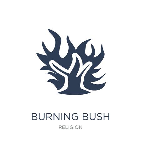 Symbol für den brennenden Busch. Trendiges flaches Vektor-Burning Bush-Symbol auf weißem Hintergrund aus der Religionssammlung, Vektorillustration kann für Web und Mobile verwendet werden, eps10