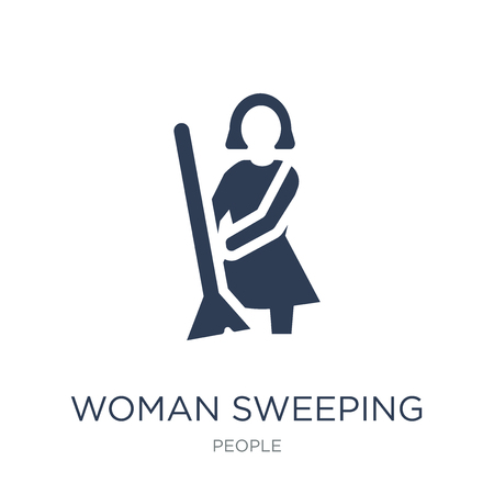 Woman Sweeping icon. Trendy flat vector Woman Sweeping icon on white background from People collection, vector illustration can be use for web and mobile, eps10