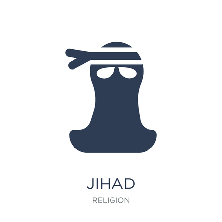 jihad icon. Trendy flat vector jihad icon on white background from Religion collection, vector illustration can be use for web and mobile, eps10 Фото со стока - 112236133