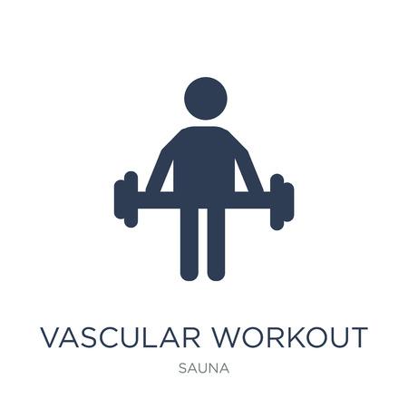 Icona di allenamento vascolare. Icona di allenamento vascolare piatto vettoriale su priorità bassa bianca da collezione sauna, illustrazione vettoriale può essere utilizzato per il web e mobile, eps10
