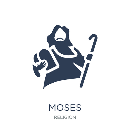 Icono de Moisés. Icono de Moisés de moda vector plano sobre fondo blanco de colección religión, Ilustración de vectores se puede utilizar para web y móvil, eps10