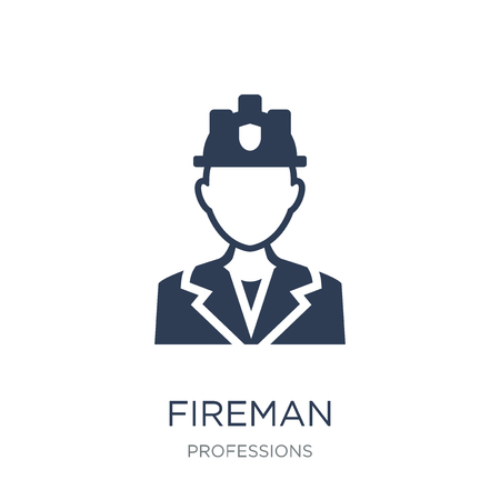 Fireman icon. Trendy flat vector Fireman icon on white background from Professions collection, vector illustration can be use for web and mobile, eps10