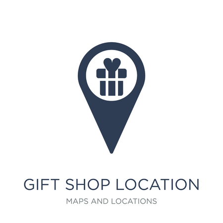 Gift shop Location icon. Trendy flat vector Gift shop Location icon on white background from Maps and Locations collection, vector illustration can be use for web and mobile, eps10