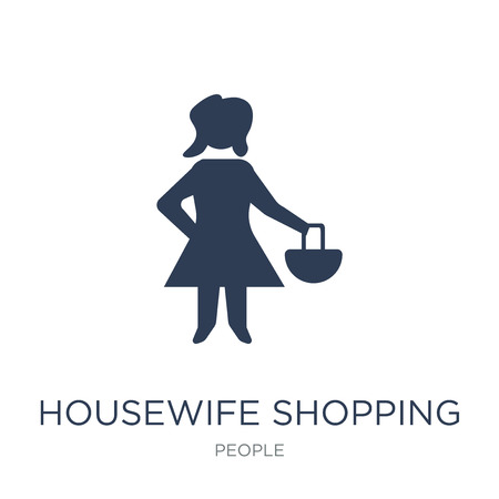 Housewife shopping icon. Trendy flat vector Housewife shopping icon on white background from People collection, vector illustration can be use for web and mobile, eps10