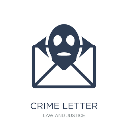 crime Letter icon. Trendy flat vector crime Letter icon on white background from law and justice collection, vector illustration can be use for web and mobile, eps10 Illustration