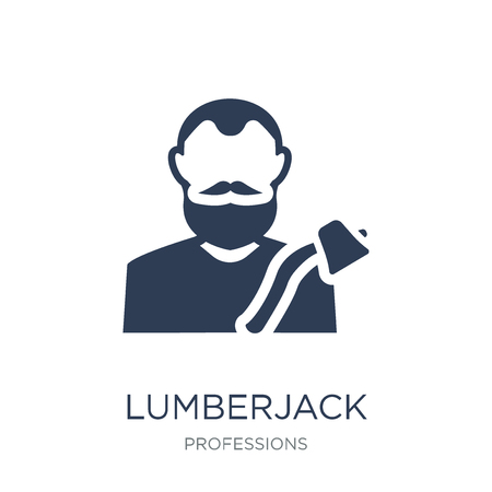 Lumberjack icon. Trendy flat vector Lumberjack icon on white background from Professions collection, vector illustration can be use for web and mobile, eps10