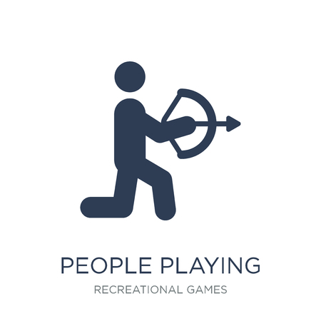 People playing Archery icon icon. Trendy flat vector People playing Archery icon on white background from Recreational games collection, vector illustration can be use for web and mobile, eps10